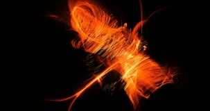 Orange Abstract Lines Curves Particles Background. Abstract Design In Orange Lines Curves Particles On Dark Background Royalty Free Stock Image