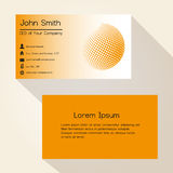 Orange abstract sphere from dots business card design eps10 Stock Photography
