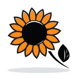 Orange abstract sunflower. With grey shadow. Autumnal icon. Vector illustration Royalty Free Stock Image
