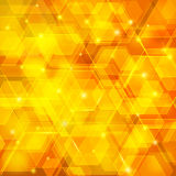Orange abstract techno background with hexagons. And glowing sparks Royalty Free Stock Image