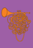 Orange abstract trumpet. An illustrated orange abstract trumpet with a long valve and purple background Stock Photo