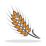 Orange abstract wheat. With grey shadow. Autumnal icon. Vector illustration Royalty Free Stock Photo
