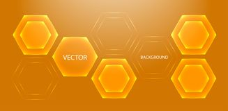 Orange abstraction geometric background with hexagons. Modern technology. Vector Stock Image