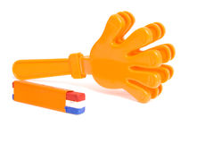 Orange accessories for Dutch soccer game Stock Image