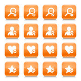 Orange additional sign square icon web button. 16 additional icon set 07. White sign on orange rounded square button with gray reflection, black shadow on white Royalty Free Stock Image