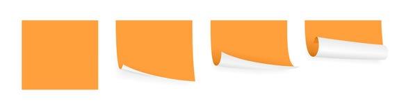 Orange adhesive papers. Set of few little orange adhesive papers Stock Image
