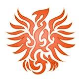 Orange Adlerflammenemblem Stockfotos