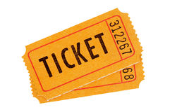 Orange admission tickets Royalty Free Stock Photo