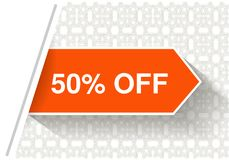 Orange advertising labels. Arrow stickers inserted under the white paper page. Offer - 50 OFF on the ornamental background Stock Photo