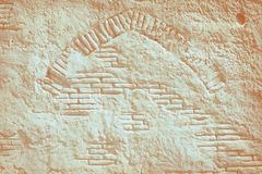Orange aged clay brick wall pattern Royalty Free Stock Image