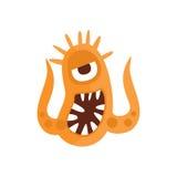 Orange aggressives bösartiges Bakterien-Monster mit den scharfen Zähnen und zwei Tentakel-Karikatur-Vektor-Illustration Stockfoto