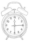 Orange alarm clock  lineart Royalty Free Stock Photo