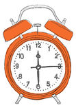 Orange alarm clock  painting Royalty Free Stock Photo