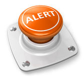 Orange alert button. Isolated on white background Royalty Free Stock Photography