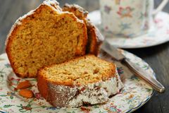 Orange and almond cake closeup. Stock Photography