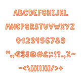 Orange alphabet and figures. Orange color alphabet and figures Stock Photos