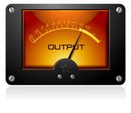 Orange Analog Meter. An orange analog meter with output written on it stock illustration