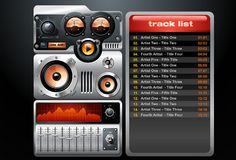 Orange Analog MP3 Player. A vector illustration of an orange analog mp3 player with playlist vector illustration
