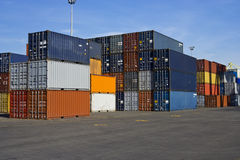 Orange And Blue Containers Stock Photo