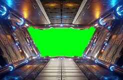 Free Orange And Blue Futuristic Spaceship Interior With Green Window 3d Rendering Stock Images - 185132144