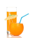 Orange And Glass Of Juice Royalty Free Stock Images