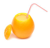 Orange And Straw For Cocktail Stock Photos