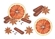 Orange, anise  and cinnamon sticks Royalty Free Stock Image