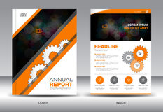 Orange Annual report template and ,info graphics elements,cover Stock Image