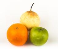 Orange, Apfel, Birne Stockfotos