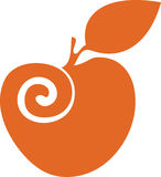 Orange apple. Orange abstract apple. Perfect for logo design. You can easily adjust color Royalty Free Stock Photos