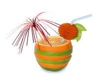 Orange-apple cocktail over white Stock Photos