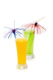 Orange and apple cocktails isolated on the white Stock Images