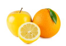 Orange, apple and half a lemon Royalty Free Stock Image