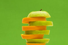 Orange and apple isolated Royalty Free Stock Photo