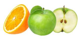 Orange and apple isolated on white Stock Image