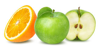 Orange and apple isolated on white Stock Images