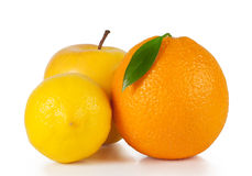 Orange, apple and lemon. On white background Stock Photos
