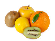 Orange, apple, lemon and kiwi Stock Images