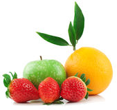 Orange, apple, and strawberry. Fresh orange, apple, and strawberry   on a white background Stock Photography