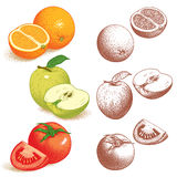 Orange, Apple, Tomato Royalty Free Stock Photos