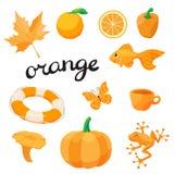 Orange Apprenez la couleur Ensemble d'éducation Illustration de couleurs primaires Photographie stock libre de droits