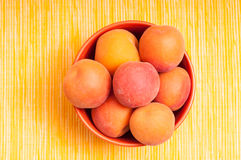 Orange apricots in a bowl Stock Image