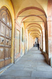 Orange arcades that lead to the sanctuary of San Luca in bologna Stock Images