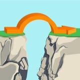Orange arch-shaped arrow spanning across rocky abyss illustration Stock Photo