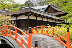 Orange arched bridge of Jshimogamo-jinja Royalty Free Stock Image