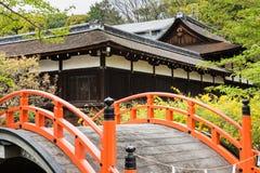 Orange arched bridge of Jshimogamo-jinja Royalty Free Stock Image