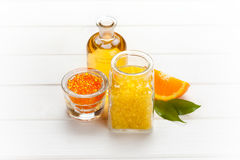 Orange aromatherapy - bath salt Royalty Free Stock Photo