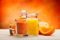 Orange aromatherapy - bath salt Stock Photos