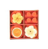 Orange aromatic candle set Royalty Free Stock Images
