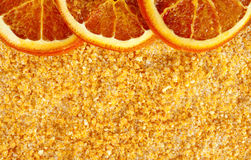 Orange aromatic sea salt with some dried slices. Background - dried and grinded oranges mixed with salt flakes Royalty Free Stock Photography